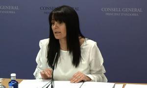 La subsíndica general, Mònica Bonell, en la compareixença posterior a la junta de presidents.