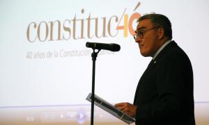 L'ambaixador Àngel Ros durant el seu discurs amb motiu de la festa nacional d'Espanya.