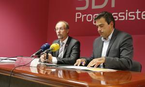 Víctor Naudi i David Pérez en la compareixença d'ahir.