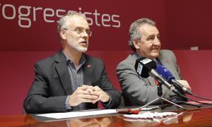 El cap de la llista nacional de Progressistes-SDP, Josep Roig, i el president del partit, Jaume Bartumeu, en una compareixença anterior.