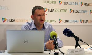 Xavier Forné presenta el logotip i la marca de l'aplicació de la plataforma de mobilitat intermodal, ahir.