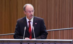 El conseller general de Socialdemocràcia i Progrés, Víctor Naudi, en una sessió al Consell General.
