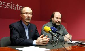El parlamentari d'SDP,  Víctor Naudi, i el secretari d'organització de la formació, Joan Marc Miralles, en una compareixença anterior.