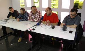 Els representants de la plataforma sindical en una compareixença.