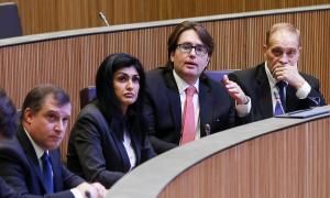 Els parlamentaris d'Unió Laurediana-Independents de la Massana en una sessió del Consell General.