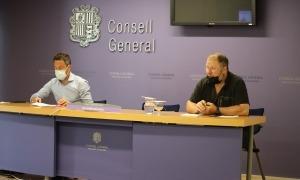 López i Font durant la roda de premsa, ahir a la tarda al Consell General.