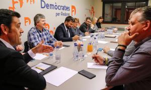 Un moment de la reunió de l'executiva de Demòcrates per Andorra d'ahir.