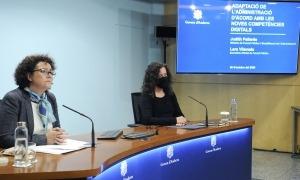 La ministra Judith Pallarés i la secretària d'Estat de Funció Pública, Lara Vilamala, en la compareixença d'aquest migdia.