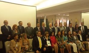Marc Vila, a l'esquerra, amb la resta de representants d'Ombdusman a Panamà.