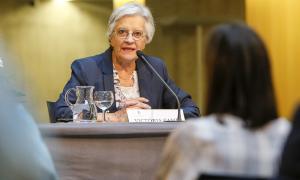 La filòsofa Victòria Camps en un moment de la xerrada d'ahir al Consell General.