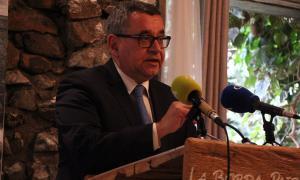 El director de FEDA, Albert Moles, en la seva intervenció abans del dinar de Nadal amb la premsa, ahir.