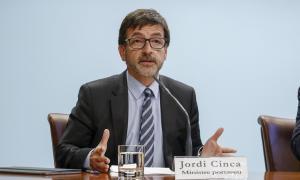 El ministre portaveu, Jordi Cinca, en la roda de premsa de consell de ministres, ahir.