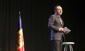 Xavier Espot en un moment de l'acte en què es va presentar oficialment com a candidat de DA de cara a les eleccions del 7 d'abril.