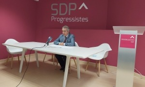 El president de Progressistes-SDP, Jaume Bartumeu, ahir a la seu de la formació.