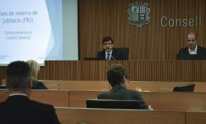 El president de la comissió gestora del Fons de reserva de jubilació, Jordi Cinca, en la darrera compareixença al Consell General.
