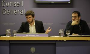 Els consellers generals socialdemòcrates Roger Padreny i Carles Sánchez en la compareixença d'ahir.