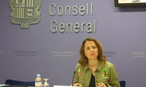 La consellera general del PS, Rosa Gili, durant la seva compareixença d'ahir.