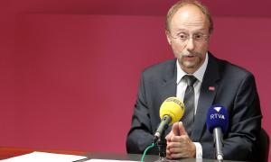 El conseller general de Socialdemocràcia i Progrés, Víctor Naudi, en una compareixença anterior.