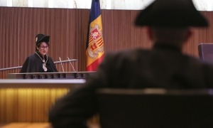 La síndica general, Roser Suñé, en un moment del seu discurs en la tradicional sessió de Sant Tomàs al Consell General.