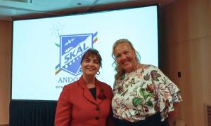 Daniela Otero i Susanna Saari, CEO i presidenta d'Skal Internacional, en la seva visita a Andorra.