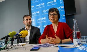 Joan Micó i Marta Alberch en la presentació de l'Observatori de la Infància, ahir.