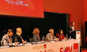 Pere López durant la seva intervenció al congrés del PSC de Lleida.