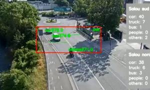 Imatge de la prova pilot del nou sistema de comptatge de vehicles.