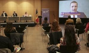 Un moment de la presentació del Pla estratègic dels esports electrònics aquesta tarda al Centre de Congressos d'Andorra la Vella.