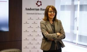 La directora general d'Andorran Banking, Esther Puigcercós, en una compareixença per donar dades del sector.