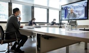 Un instant de la reunió telemàtica celebrada ahir.