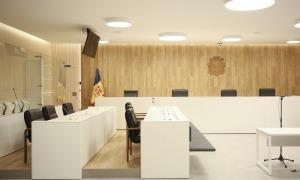 Una sala de vistes de la nova Batllia, on s'ha celebrat la vista pel recurs d'apel·lació.