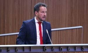 El president del grup parlamentari socialdemòcrata, Pere López, al Consell General.