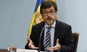 El ministre portaveu Jordi Cinca en roda de premsa.