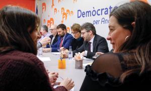 Reunió de l'executiva de Demòcrates per Andorra, ahir.
