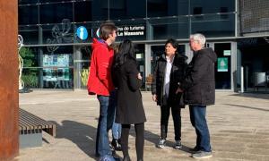 Els candidats de CC+DA+L'A ahir a la plaça de Les Fontetes.