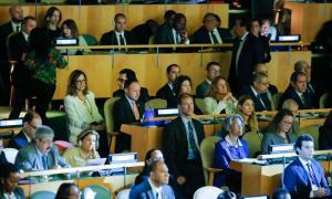 La delegació andorrana, ahir a la Cimera per l'Acció Climàtica que té lloc a Nova York.