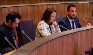 Els consellers generals del Partit Socialdemòcrata, Gerard Alís, Rosa Gili i Pere López, en una sessió del Consell General.