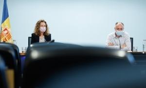 La ministra de Medi Ambient, Agricultura i Sostenibilitat, Sílvia Calvó, i el director del departament d'Agricultura, Josep Casals.