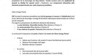 Extracte de la carta amb què Montre SL sol·licita el canvi de bicicleta.