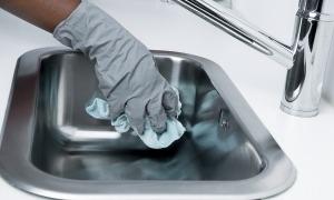 Una dona neteja una pica.