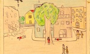 El dibuix d'un bombardeig a Portbou fet per la Maria Dolors, germana de la Isabel Sanz.