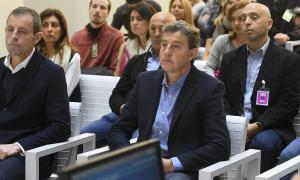 Sandro Rosell i Joan Besolí el primer dia del judici.