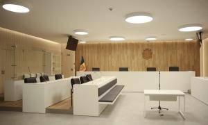 Una de les sales de vistes de la Seu de la Justícia.