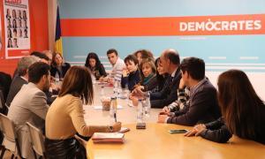 Un moment de la reunió de l'executiva demòcrata d'ahir al vespre.