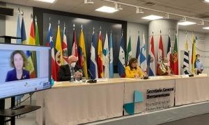 Un moment de la reunió entre els ministres d'Afers Exteriors iberoamericans.