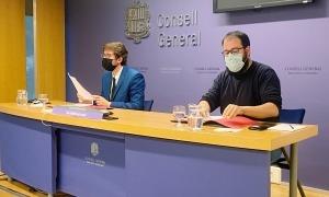 Els parlamentaris del PS Roger Padreny i Carles Sánchez, aquesta tarda al Consell General.