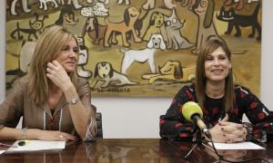 Carmen Rivera i Monica Lage van presentar ahir al matí la nova associació a la seu de Bomosa.