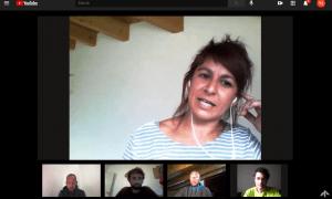 La presidenta, Lara Fernández, i els membres de la junta de l'associació de pisters socorristes, aquest dijous.