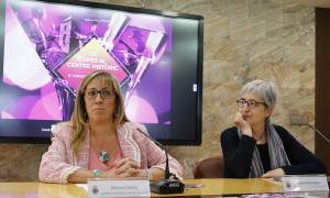 Mònica Codina i Anna Riberaygua en la presentació de la nit De copes, ahir al matí.