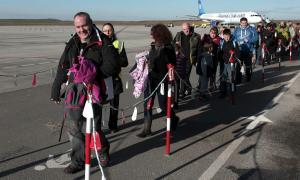 Esquiadors britànics arriben a Alguaire, en una imatge d'una temporada anterior